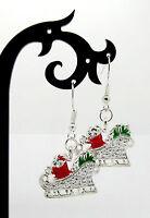 Robin Christmas Dangle Hook Earrings Antique Silver Tone Festive Xmas  M0039