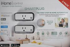 iHome Control Smart Plug iSP6X Apple HomeKit Android Nest Alexa Compatible, 2 PK