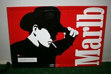 Vintage 1997 Marlboro Cowboy Silhouette Tin Metal Sign Mancave Red 23 x 15