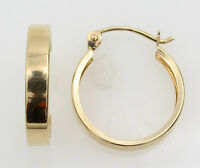14K Real Yellow Gold 3mm Width Small Round Polished  Hoop Huggies Earrings 9/16""