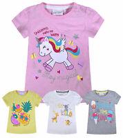 Baby Girls T-Shirt Unicorn Glitter Print Cotton Summer Tee Top Age 0 - 24 Months