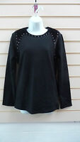 LADIES TOP BLACK SMALL - SIZE 8  JERSEY VELOUR  STUD EFFECT DETAIL BNWT