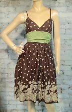 Max Studio Empire Summer Dress Small S Strappy Tank Brown Green Cotton Paisley