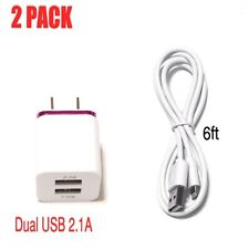 Dual Wall Charger Adapter 2.1A+ USB Data Sync Charging Cable For iPhone 6 7 8 XS