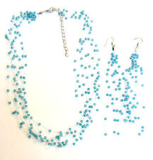 TURQUOISE BLUE BEADED WATERFALL WIRE NECKLACE & EARRINGS SET FREE UK POST! TS1