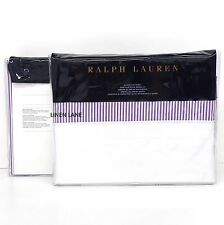 RALPH LAUREN Great Compton ONE QUEEN FLAT SHEET NWT White Purple Stripe FAIRVIEW