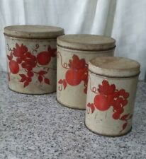 vintage hand painted 3 piece tin kitchen canister set