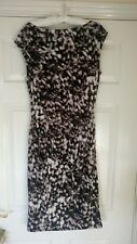 Planet Special Occasion Black White Beige Dress Size 12 Ruched Detail VGC