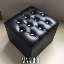 BLACK FAUX LEATHER 10 DIAMOND OTTOMAN STORAGE FOOTSTOOL STOOL POUFFE NEW