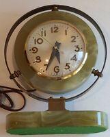 "Art Deco Vintage Sessions desk Clock Green Onyx Marble Orignal Works 8.5"" neat"