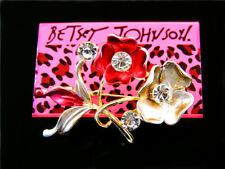 Flower Charm Women's Brooch Pin Gift Betsey Johnson Fashion crystal Enamel Cute