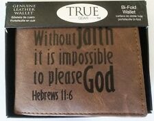NEW Mens Christian Bible Verse HEB 11:6 GENUINE SOFT LEATHER Brown Bifold WALLET
