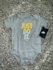 Nwt Nike Boys Just Do It Gray And Yellow One Piece Shirt Romper Sz 3/6 Months