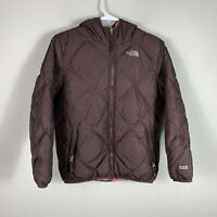 The North Face 550 Youth Girl Size L Puffer Down Fill Brown Hoodie