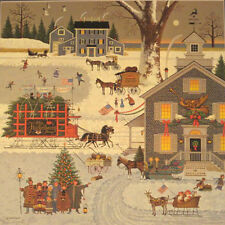 """""""Cape Cod Christmas"""" By Charles Wysocki Signed Lithograph 15 1/2""""x15 1/2"""""""