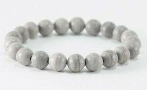 """Natural SILVER LINE JASPER 6MM OR 8MM Gemstone Beaded Stretch Bracelet 6""""-8.5"""""""