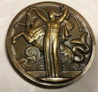 1935 Amphitrite Goddess of Sea with Horse Splendid French Art Deco medal Vernon