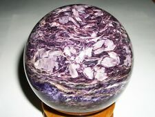 "NEW !!! CHAROITE BIG SPHERE ball w/stand RUSSIA 89.7mm(3.53"")  955grams(2.1 lb)"