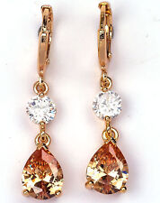 18K Yellow Gold Filled - 1.4''  Morganite Topaz Zircon Waterdrop Hoop Earrings