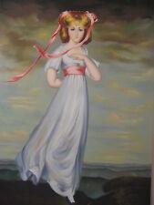 Vintage Famous Sarah Barrett Moulton Pinkie Reproduction Oil Painting (Signed)