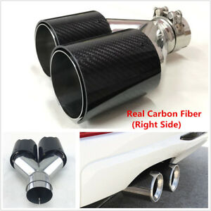 Universal Exhaust Tip Muffler Dual Pipe Tail Tip Real Carbon Fiber 63-90mm Right