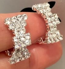 CLIP ON EARRINGS - gold plated Bowknot earring with rhinestone crystals -GIFTBOX