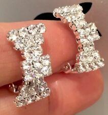 Pendientes De Clip-pendiente con moño de Chapado en Oro con Diamantes de Imitación Cristales-Gancho