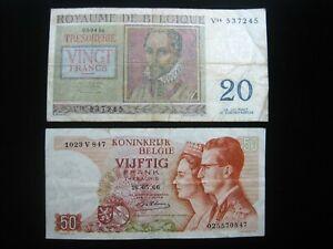 BELGIUM 20 FRANCS 1956 & 50F 1966 BELGIE Pair  7245# Bank Money Banknote