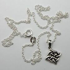 Solid 925 Sterling Silver Celtic Knot Pendant Necklace, Chain, New with Gift Bag