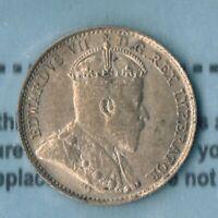 Edward VII  5 cents, 1909.  CCCS AU-50: Round Leaves