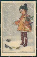 Artist Signed Bompard Child serie 993-6 PIEGHINA cartolina XP7117