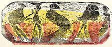 GERHARD ALTENBOURG - Zwei Paare und ein Einzelwesen - Farbholzschnitt 1970