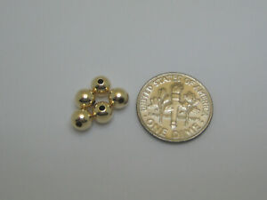 Solid 14K Yellow Gold 5mm Hollow Beads 5 Pieces
