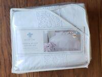 Simply Shabby Chic Duvet Cover Sham 3PC Set KING White Linen Crochet Trim RVRSBL