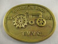 VINTAGE BRASS COMMEMORATIVE PLAQUE  -  KNIGHTON SHOW  TVVC   1986