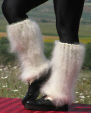MOHAIR Hand knitted IVORY spats fuzzy gaiters Fluffy handmade leg warmers Cosy