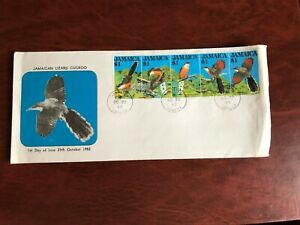 JAMAICA 1982 FDC BIRDS LIZARD CUCKOO STRIP