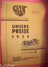 ANCIENNE ORIGINAL LISTE DES PRIX NSU d ROUE nos 1934 numéro 514 série A