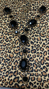 Beautiful Y Shaped Necklace Black Onyx Stones Costume Jewelry