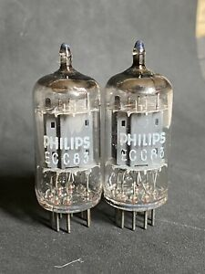 MATCHED PAIR OF PHILIPS Ei 12AX7 ECC83 LONG SMOOTH PLATE
