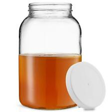 1-Gallon Glass Jar Wide Mouth with Airtight Plastic Lid - USDA Approved BPA-Free