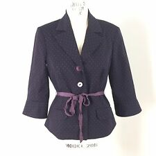 Trina Turk Womens Blazer Jacket Sz 6 Dark Purple Polka Dot Ribbon Tie Career O22