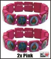 2X PINK Wooden Elasticated Saints Bracelet Jesus Wristband Religious Saints NEW