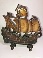 L@@K Vintage Cast Iron Door Stop Sailing / Pirate Ship w/ Lots of Detail! Heavy!
