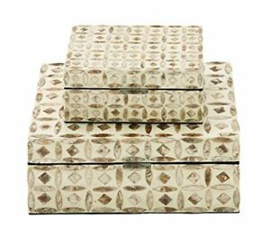 """Deco 79 Wood Mop Inlay Box S/2 8"""" 12"""" W-41125 8"""" by 12"""" Brown/Beige"""