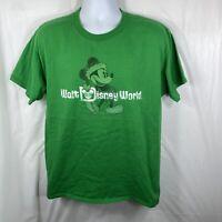 Walt Disney World Unisex Large Mickey Mouse Holidays Green T Shirt