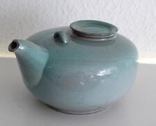 Moderne Designer Keramikkanne Teekanne hellblau glasiert um 1950 ca. 21x17 cm xz