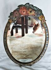 Antique Barbola Oval Frame English Garden Gesso Floral Ribbon Beveled Mirror