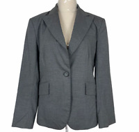 Cue Womens Grey Pinstriped Single Button Fully Lined Corporate Jacket Size 12