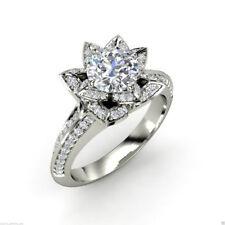 Cut Moissanite Engagement 925 Silver Ring 7 mm Designer Lotus Near White Round